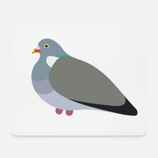 Pigeon Mouse Pads - Wood Pigeon Friend - Mouse Pad white