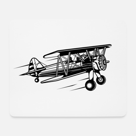 Aeroplane Mouse Pads - Airplane / Airplane 01_black - Mouse Pad white