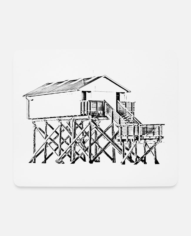 Pile Construction Mouse Pads - Sankt Peter-Ording pile dwelling black - Mouse Pad white