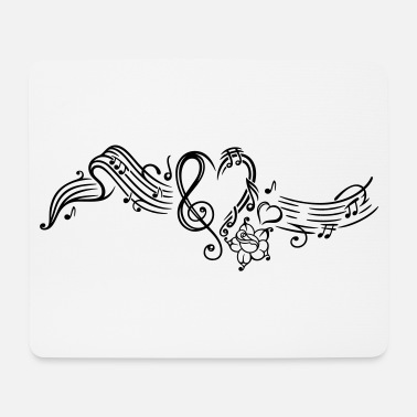 Music Sheet music with music notes, clef and flowers - Mouse Pad
