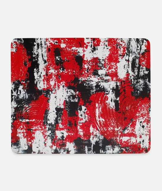 Red Mouse Pads - Abstract red-white-black - Mouse Pad white