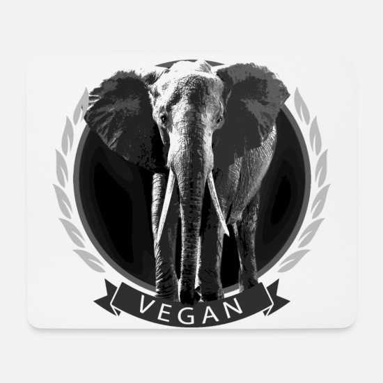 Gift Idea Mouse Pads - Elephant vegan raw food raw eco gift idea - Mouse Pad white