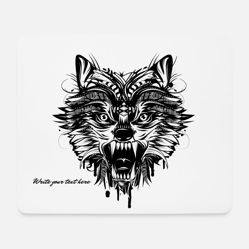 Wolf Mouse pads  - dangerous wolf  - Mouse Pad white