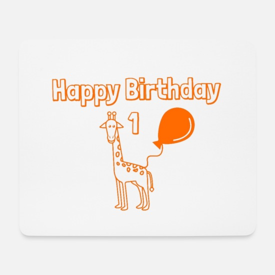 Birthday Mouse Pads - 1 year birthday Giraffe Happy Birthday - Mouse Pad white