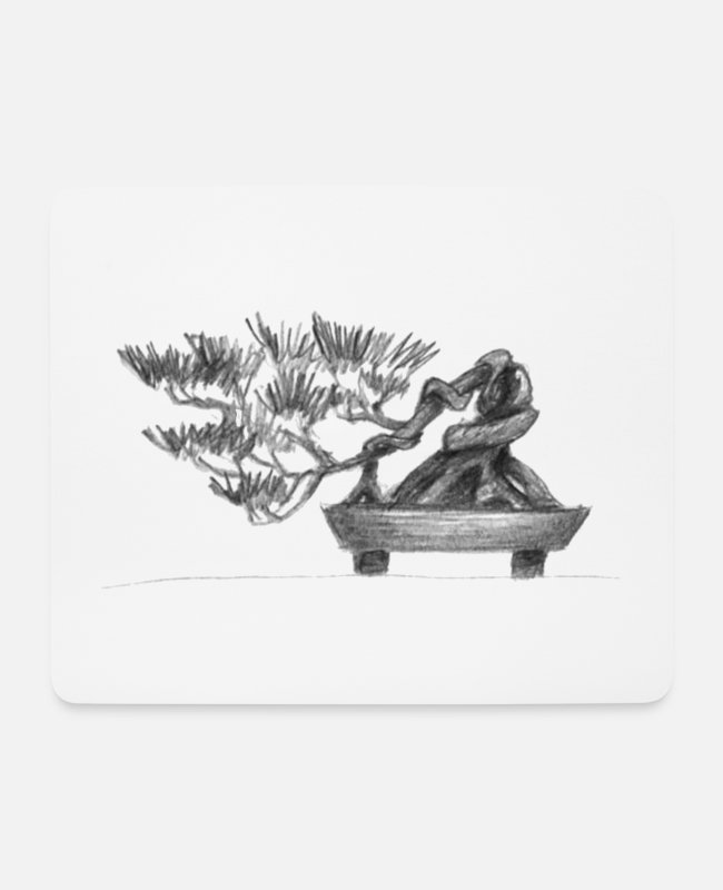 Garden Mouse Pads - Zen Bonsai Pot Gift - Mouse Pad white