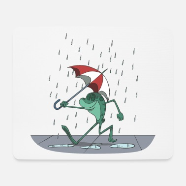 Weather A funny frog with an umbrella in the rain - Mouse Pad