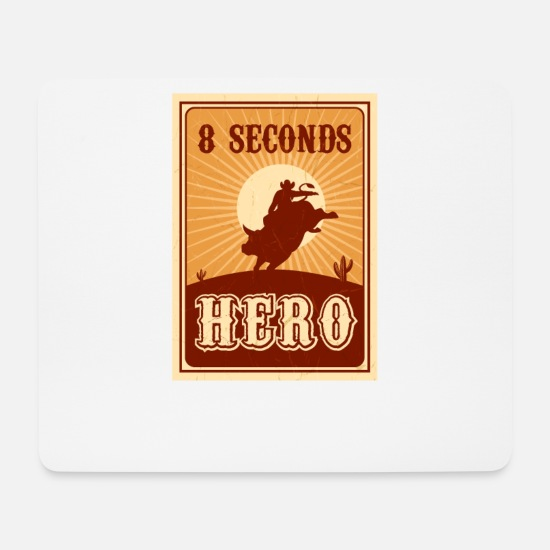Rodeo Mouse Pads - Bull Riding 8 Seconds Hero Vintage Rodeo Retro Cow - Mouse Pad white