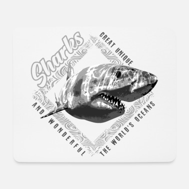 Net White Shark Predator. Cool Textiles, Gift ideas - Mouse Pad