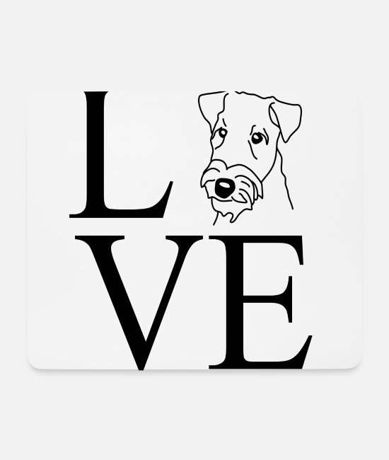 Heart Mouse Pads - Airedale Terrier DOG SHIRT Dogshirt Love Heart - Mouse Pad white