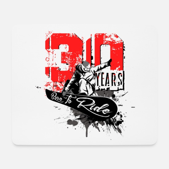 Birthday Mouse Pads - Snowboard - 30th Birthday - Mouse Pad white