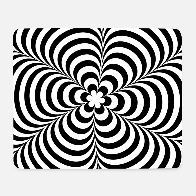 Trippy Muismatjes  - Optical illusion (Impossible) Black & White OP-Art - Muismat wit