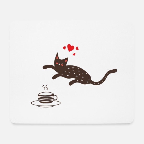 Love Mouse Pads - Tea loving cat - Mouse Pad white