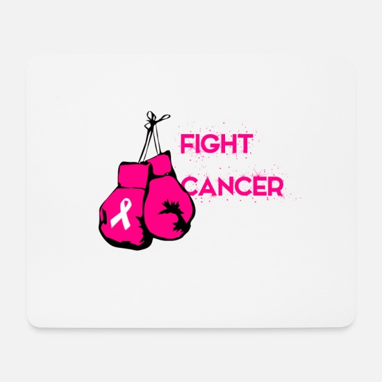 Breast Mouse Pads - Fight Cancer Glove Pink Pink Bow - Mouse Pad white