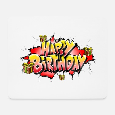 Happy Birthday GRAFFITI HAPPY BIRTHDAY STAMPABILE SU TUTTO - Tappetino per mouse (orizzontale)