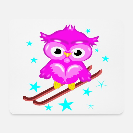Ski Area Mouse Pads - Pink owl on ski - Mouse Pad white