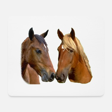 Horse Head Kissing Horses Stallion and Mare head - Mouse Pad