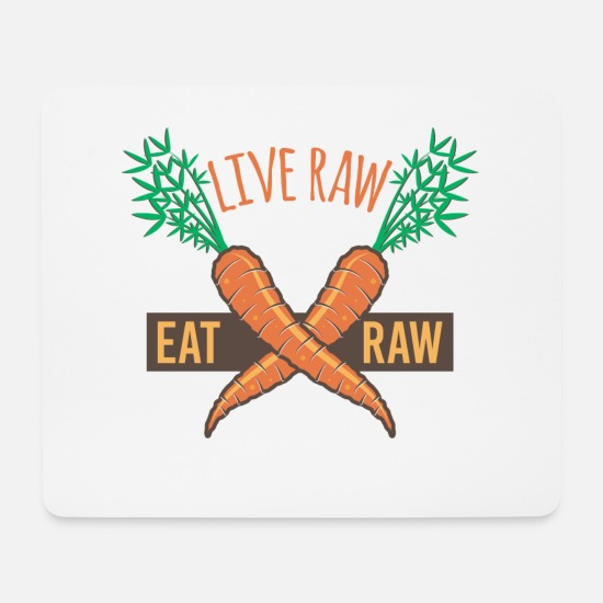 Birthday Mouse Pads - Live Raw Eat Raw Carrots - Mouse Pad white