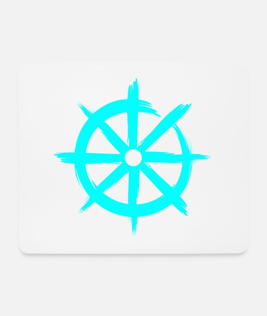 Wheel Mouse Pads - Dharmachakra Buddhism wheel of teaching - Mouse Pad white