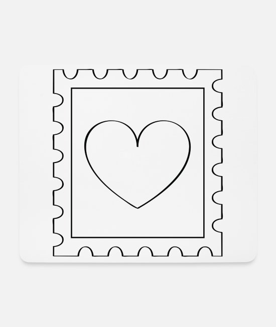 Heart Mouse Pads - Love stamp - Mouse Pad white