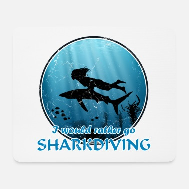 Reef Sharkdiving sharkrider aquagirl and blue shark - Mouse Pad