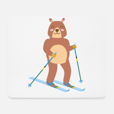 Winter Sports Bear ice skiing cute sport winter gift idea - Mouse Pad