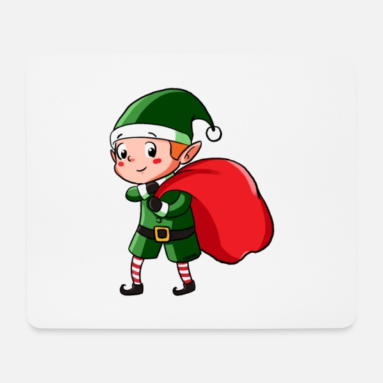 Weihnachten Elfe Nordpol Wichtel Kinder Geschenk Mousepad Querformat Weiß