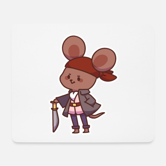 Pirate Mouse Pads - Pirate mouse saber treasure hunt buccaneer gift - Mouse Pad white