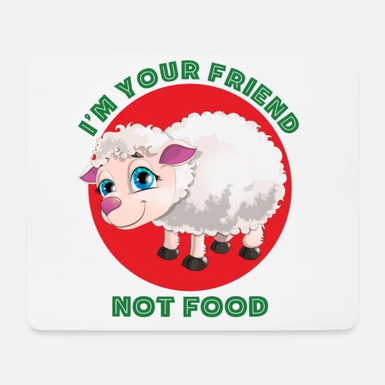 Animal Rights Activists Mouse Pads - FRIEND NOT FOOD - LAMB - Mouse Pad white