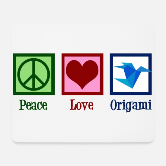 Japanese Mouse Pads - Peace Love Origami - Mouse Pad white