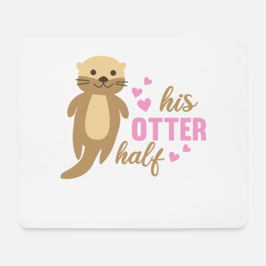 Help Together his otter half sweet otter love romantic heart - Mouse Pad