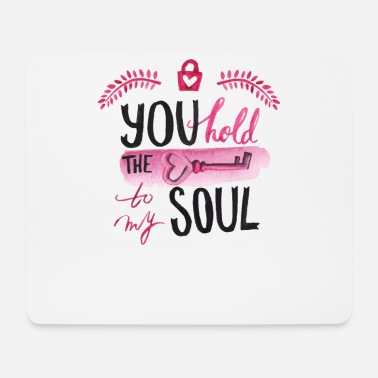 I Heart You hold the key to my soul watercolor - Mouse Pad