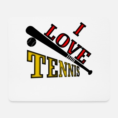 i love tennis baseball black - Mouse Pad