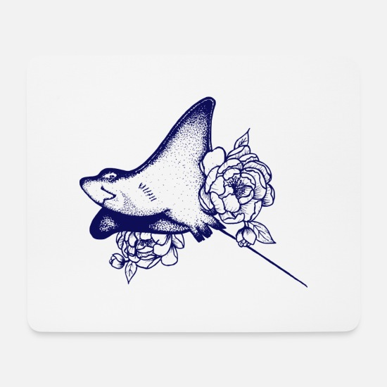 Marine Animal Mouse Pads - Rays and roses - Mouse Pad white