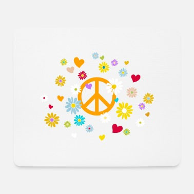 Peace Sign Flowers Heart Flower Child Valentine's Day - Mouse Pad