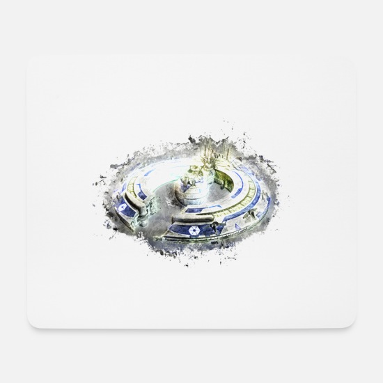 Art Mouse Pads - Spaceship isolated brightly glowing - Mouse Pad white