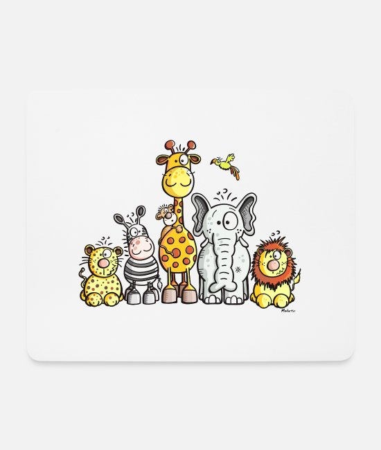 Animals Mouse Pads - Happy African Animal Team - Mouse Pad white