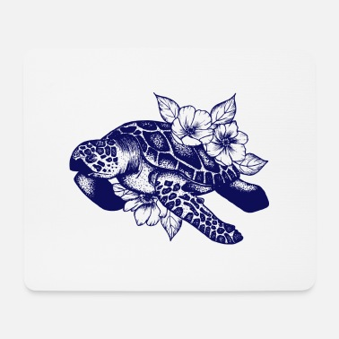 Turtle Turtle and flowers - Mouse Pad