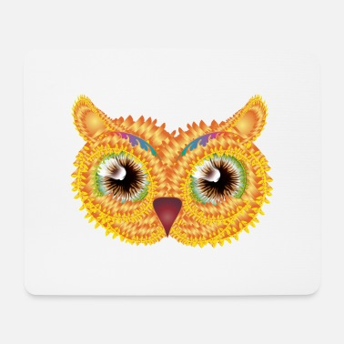 Bright abstract owl head made of floral shapes - Mouse Pad
