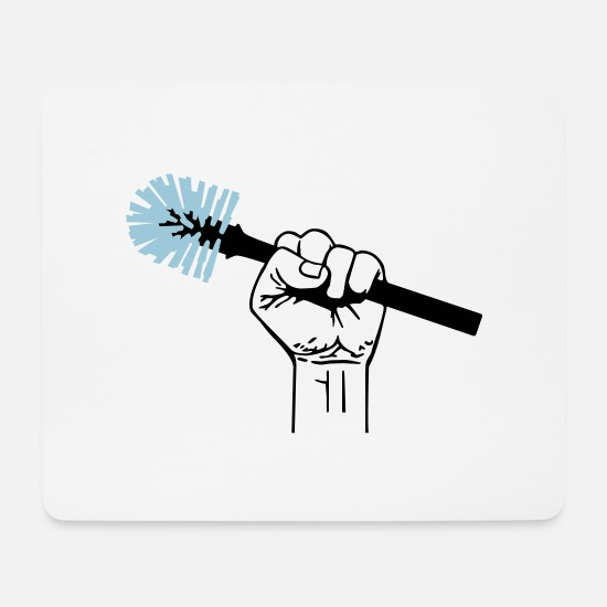 Toilet Brush Mouse Pads - against shit - Mouse Pad white