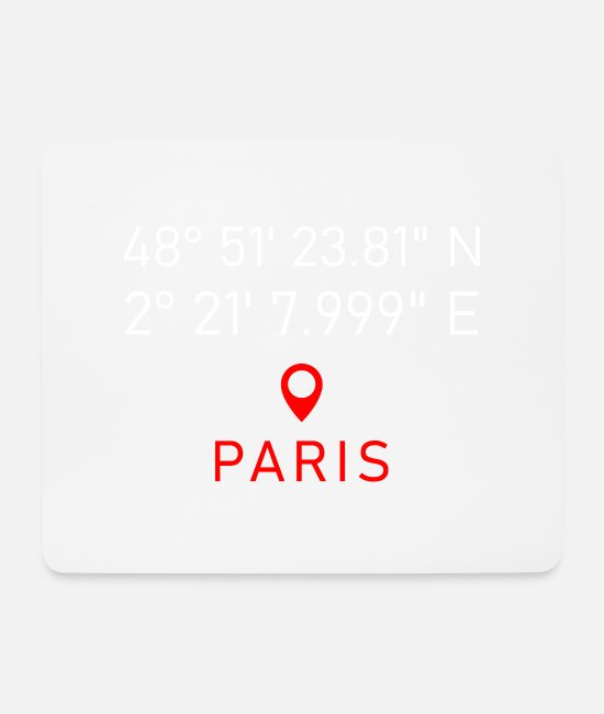 Heart Mouse Pads - Paris France France French coordinates - Mouse Pad white