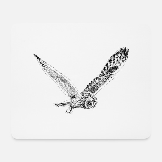 Flight Mouse Pads - Owl In Flight - Mouse Pad white
