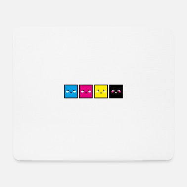 CMYK Cubes with faces - Mousepad