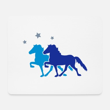 Riding Club Two Horses with silver-metallic Stars - Mouse Pad
