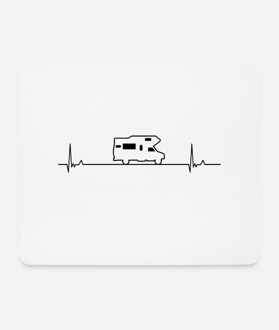 Camper Mouse Pads - Camping heartbeat - Mouse Pad white