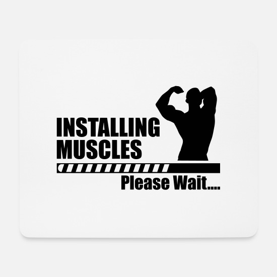 Funny Gym Mouse Pads - Installing Muscle - funny gym - Mouse Pad white