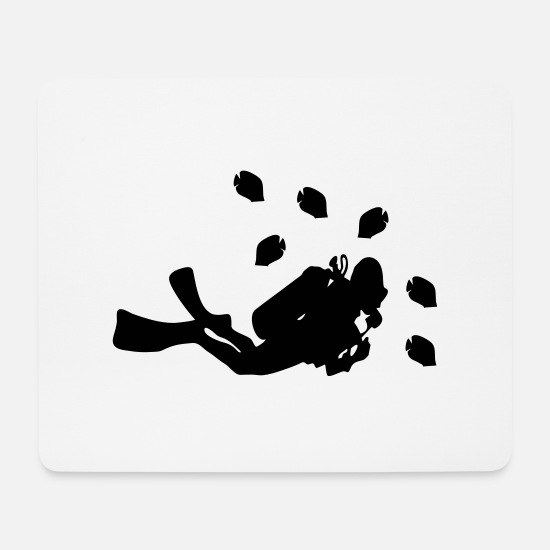 Taucherbrille Mousepads  - taucher tauchen diving - Mousepad Weiß