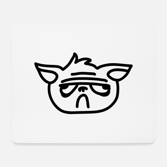 Meme Mouse Pads - bad mood cat - line - Mouse Pad white