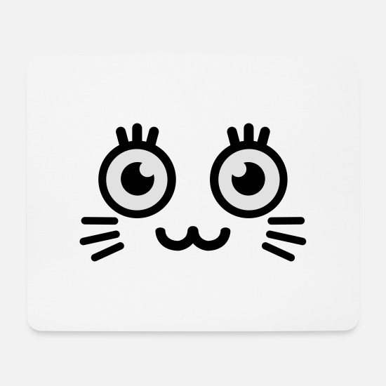 Niedlich Mousepads  - cute kitty face - Mousepad Weiß