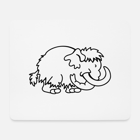Fur Mouse Pads - Little Mammoth - Mouse Pad white