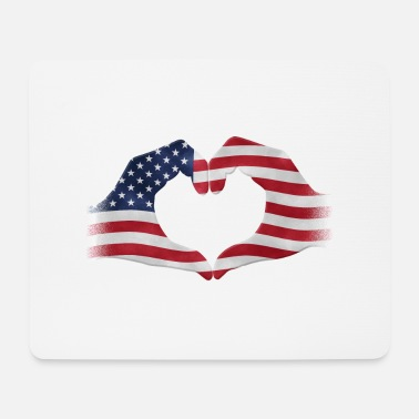 Strip Mains en forme de coeur USA drapeau - Tapis de souris